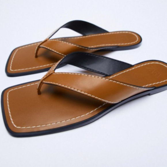 Zara Low Heel Square Toe Topstitched Sandals